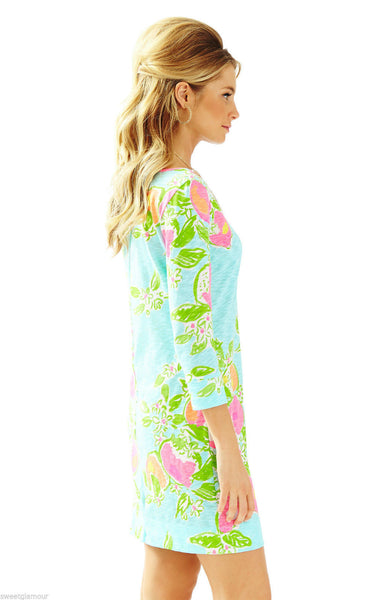 Lilly Pulitzer Marlowe Pool Blue Pink Lemonade Boatneck T-Shirt Dress M