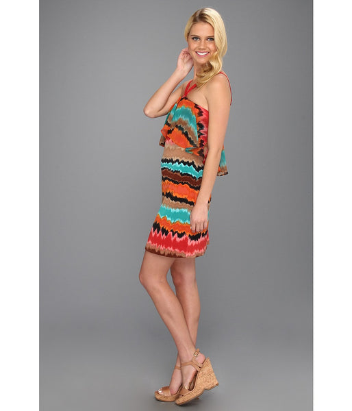 Max and Cleo by BCBG Becca Tie Dye Ruffle Chiffon Halter Dress L