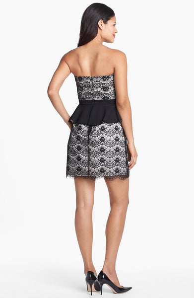Max & Cleo Adrienne Black Lace Chiffon Strapless Peplum Cocktail Party Dress S 4