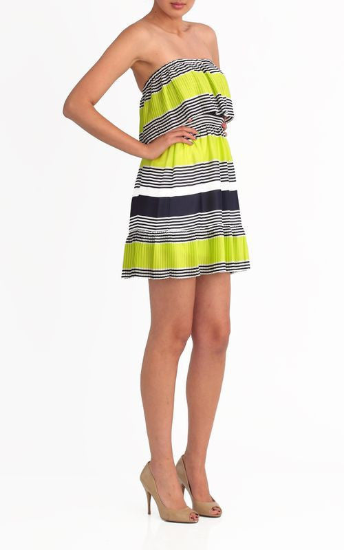 Max and Cleo by BCBG Strapless Pleated Ruffle Nellie Dress Lime Navy Striped M