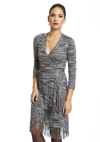 Max and Cleo by BCBG Nikki Space Dye Fringe Sweater Faux Wrap Dress Gray S