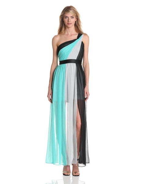 Max and Cleo by BCBG One Shoulder Crinkle Chiffon Sheer Illusion Maxi Dress S 6