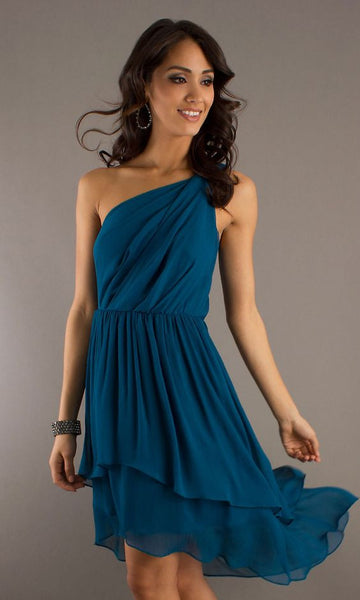 Max And Cleo by BCBG Phoebe One Shoulder Azure Blue High-Low Dress