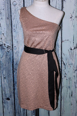 Max And Cleo By BCBG Sequin Claudia One Shoulder Belted Gold Taupe Party Dress