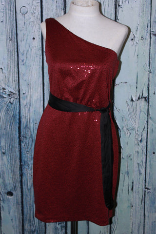 Max And Cleo By BCBG Sequin Claudia One Shoulder Belted Red Wine Party Dress