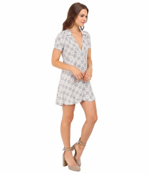 Free People Melody Geo Print Button Down Shirt Dress Neutral S 6