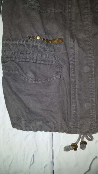 Free People Distressed Linen Military Studded Cargo Jacket Army Green Olive S 6