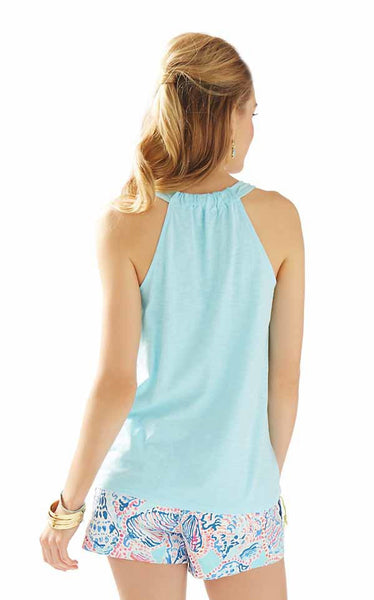 Lilly Pulitzer Minka Trapeze Tank Top Gathered Racerback in Skye Blue XS M
