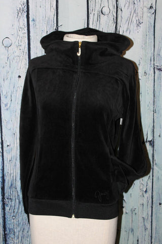 Juicy Couture Black J Bling Velour High Collar Mock Neck Hoodie Track Jacket S