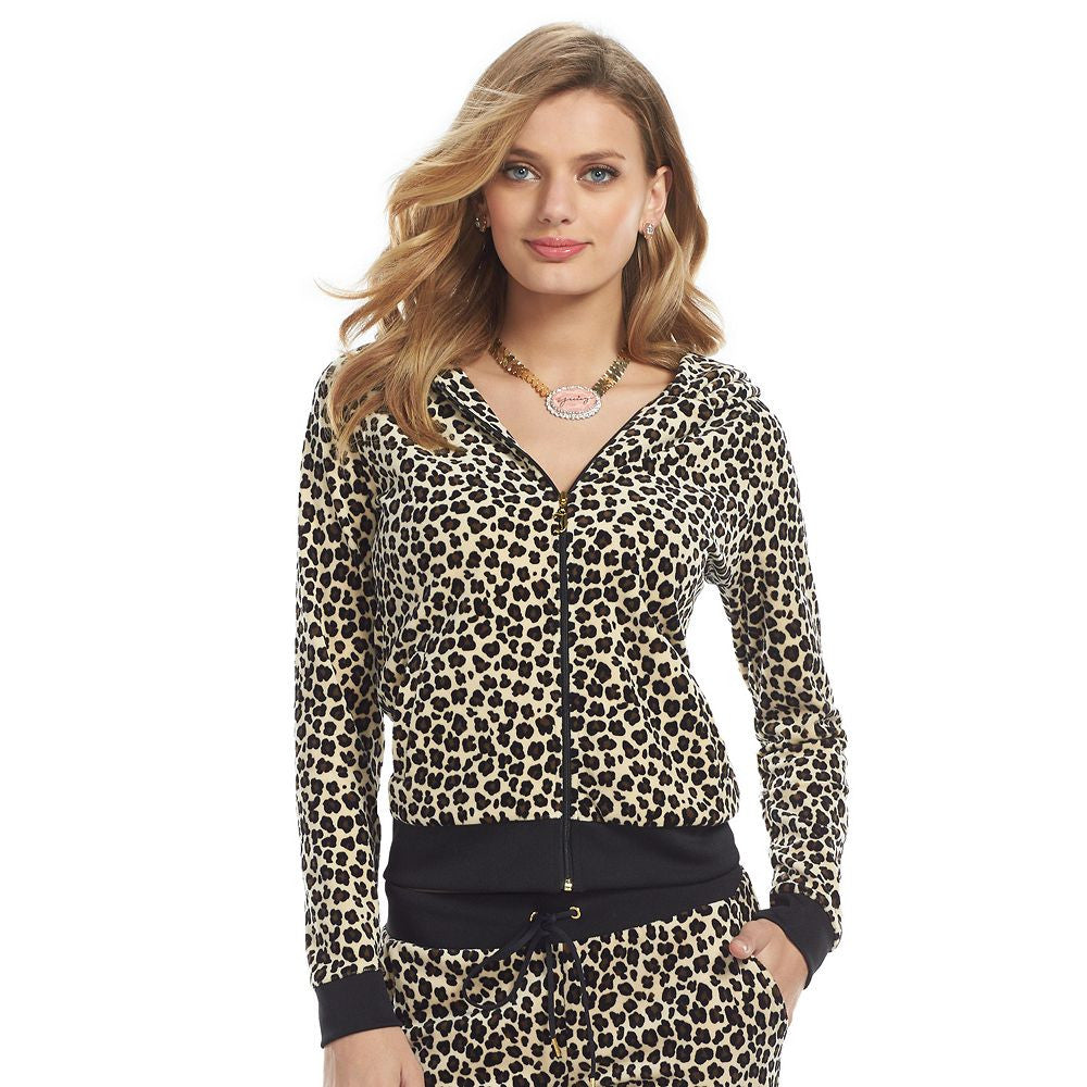 Juicy Couture Leopard Print Velour Hoodie Natural Black Brown M