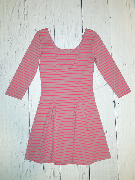 Free People Nautical Knotty Striped Applique Fit Flare Skater Dress Berry XS