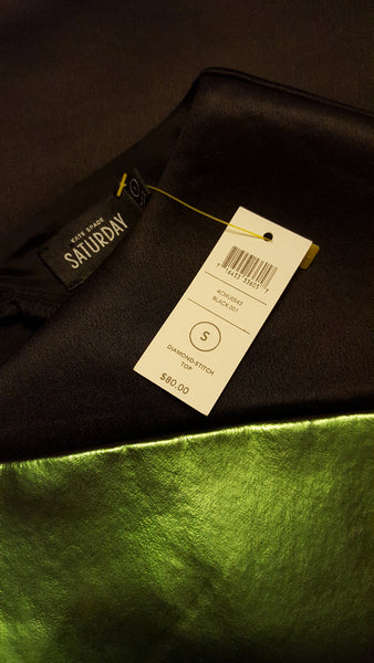 Kate Spade Saturday Diamond Stitch Black Iridescent Scubba Neoprene Top S
