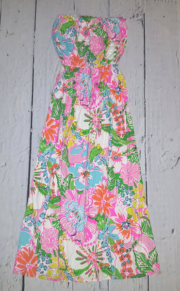 NWT Lilly Pulitzer Target Nosie Posey Strapless Maxi Dress L