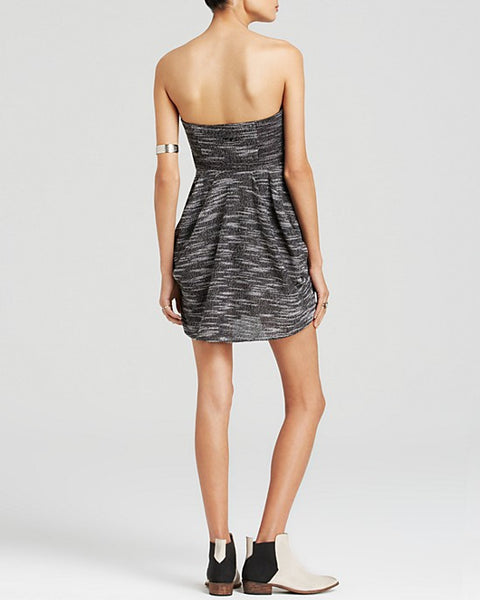 Free People Nyima Heathered Knit Ruched Strapless Pocket Bubble Dress M 8 10