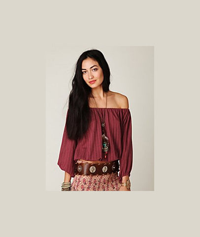 Free People Knit Gathered Off Shoulder Blouson Peasant Top in Cranberry M