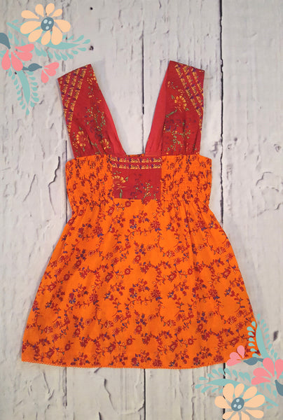 Free People Vintage Style Orange Pink Mixed Floral Smocked Tank Top S 6