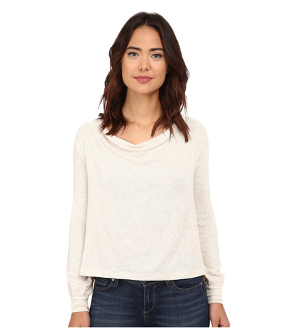 Free People Palmer Shimmer Drape Cowl Neck Long Sleeve Trapeze Top Ivory Gold S