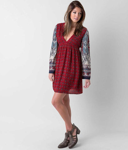 Patrons of Peace Vintage Style Bohemian Bell Sleeve Open Back Paisley Dress XS