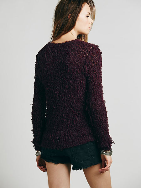 Free People Polar Bear Shaggy Pullover Sweater Eggplant Purple XS