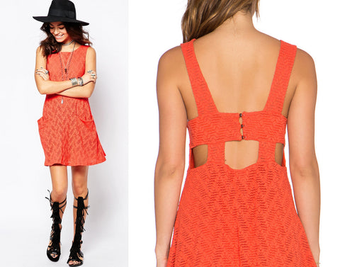 Free People Lace Poppy Cut Out Mini Dress Persimmon Orange