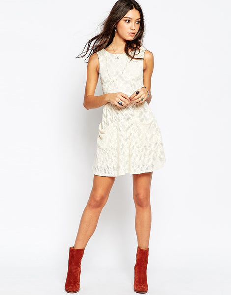 Free People Lace Poppy Cut Out Mini Dress Ivory White Tea L
