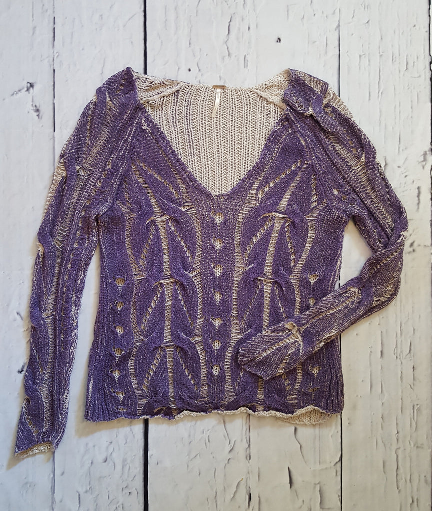 Free People Loose Cable Knit Painted Look Two Tone V-Neck Sweater Purple Gray S
