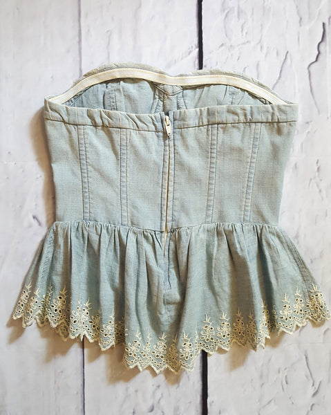 Ralph Lauren Denim & Supply Denim Eyelet Peplum Corset Top XS 2