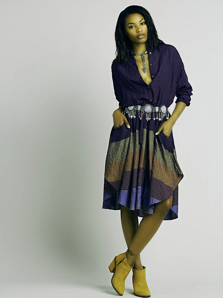 Free People Ray Of Light Extreme Buttondown Shirtdress Striped Plum Combo