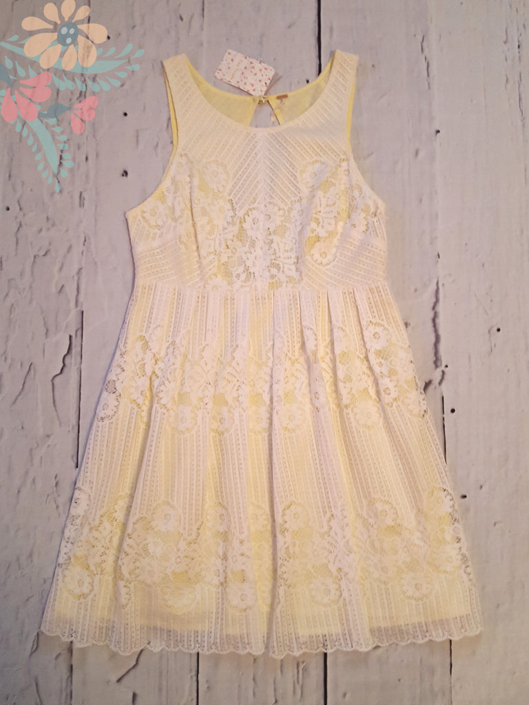 Free People Rocco Lace Cut Out Open Back White Yellow M 8