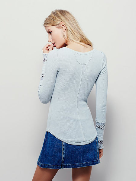 Free People Rosey Cuff Thermal Top Shirt Seaspray Blue S