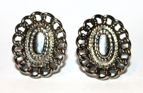 Vintage Sarah Coventry Rare Mark Silver Oval Chain Trim Clip On Earrings 50-60s