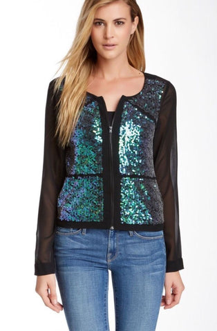 BCBGeneration Sequin Sheer Chiffon Zip Front Bomber Jacket S