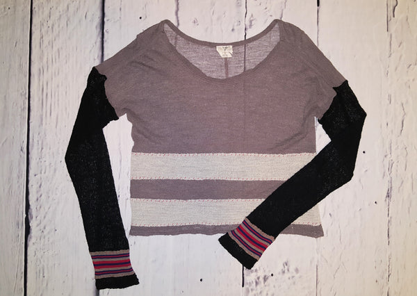 Free People Sheer Gauze Cropped Mixed Stripe Wool Blend Sweater Top M