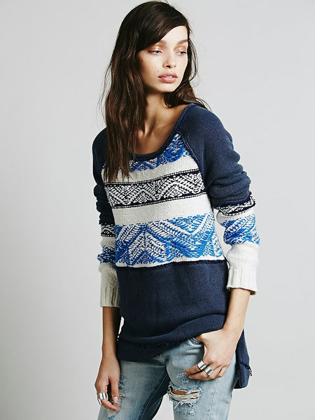 Free People Snow Angel Pullover Thermal Knit Sweater Tribal Blue Indigo S