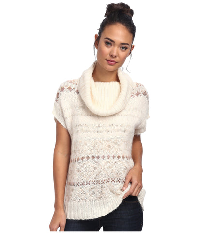 Free People Alpaca Wool Snow Bunny Fair Isle Cowl Neck Sweater Vest Size M / L
