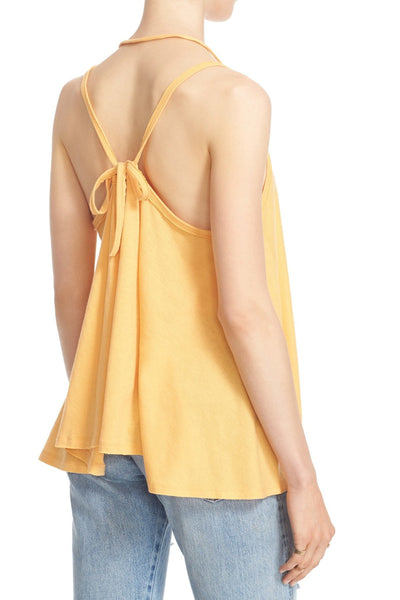 Free People So in Love Strappy Halter Swing Tank Top Mango Yellow M