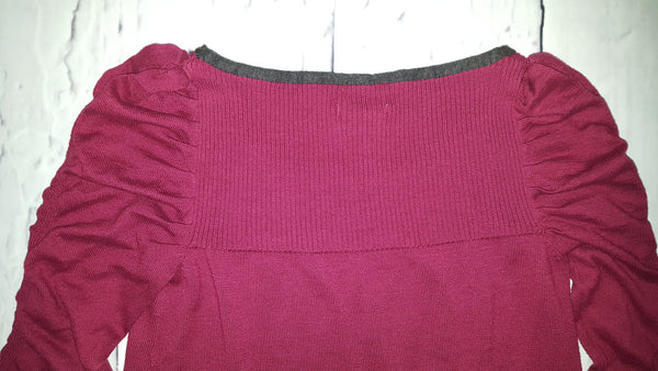 Sophie Max Ruched Long Puff Sleeve Burgundy Gray Striped Sweater Tunic Dress S