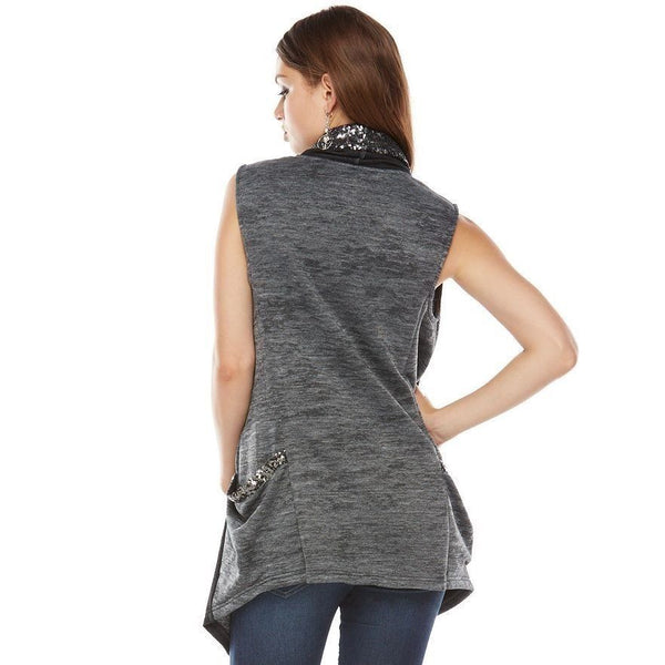 Juicy Couture Space Dyed Sequin Flyaway Long Vest Gray Black M