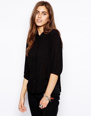 Free People Sparrow Swiss Dot 3/4 Bell Sleeve Sheer Black Button Down Top XS