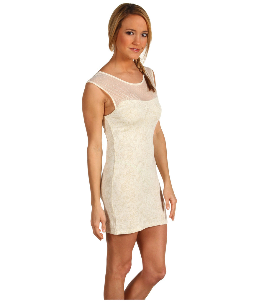 Free People Starlight Bodycon Dress in Ivory White Metallic Floral ...