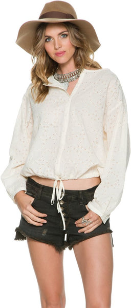 Free People Stars Align Eyelet Lace Peasant Bohemian Shirt Top Ivory White XS