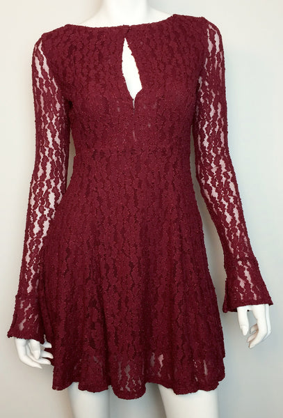 Free People Teen Witch Plumeria Stretch Lace Fit Flare Keyhole Dress M