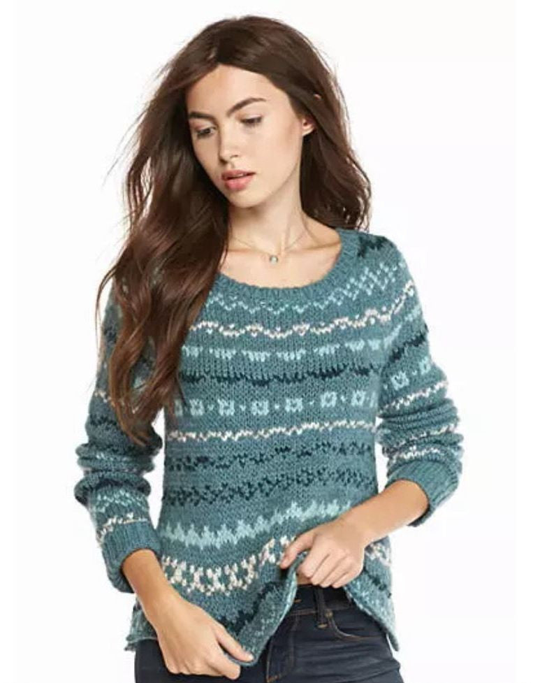 Free People Through the Storm Fair Isle Swing Sweater Sea Blue XS ...