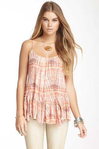 Free People Nicest Sierra Ruffle Criss Cross Strappy Tank Top Coral XS