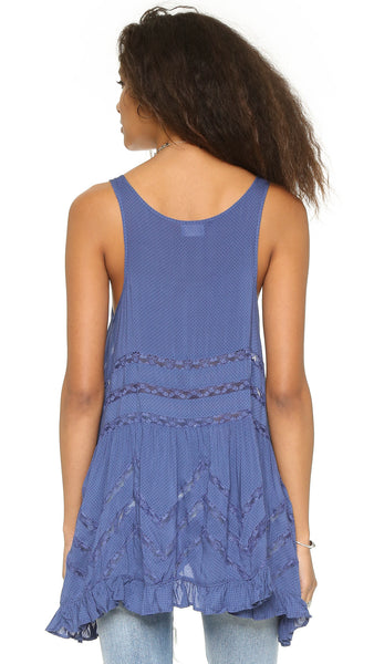 Free People Voile & Lace Trapeze Slip Dress Waterfall Combo Blue XS