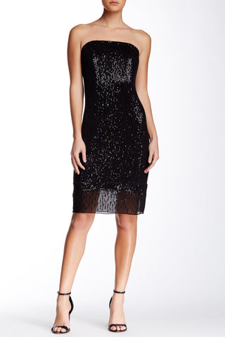 Trina Turk Belmont Beaded Sequin Chiffon Black Strapless Evening Party Dress S 6