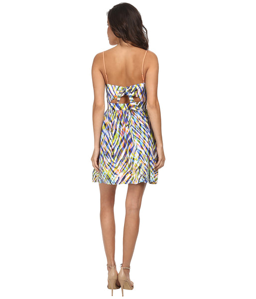 Trina Turk Silk Gypsum Sweetheart Keyhole Tie Back Dress Watercolor Multi L 10