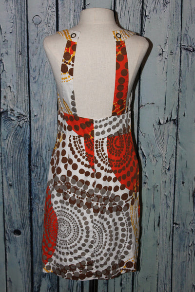 Trina Turk Retro Vintage Geometric Polka Dot V-Neck Halter 70's Style Dress S 6