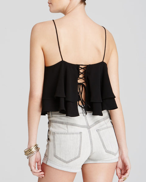 Free People Tropical Wave Ruffle Crop Top Lace Up Open Back Cami Black