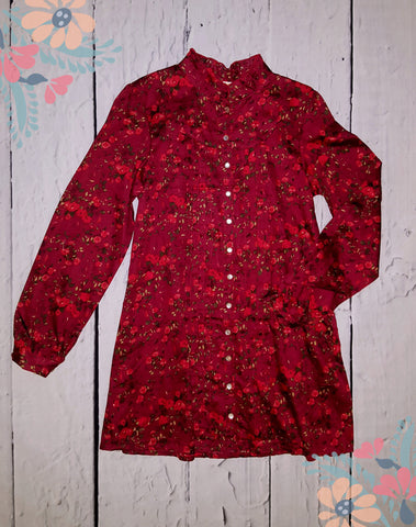 Tulle Los Angeles Vintage Style Boho High Collar Retro Red Floral Shirt Dress